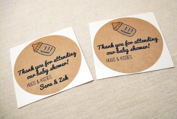 Whimsical baby bottle baby shower labels for favors | Once Upon Supplies