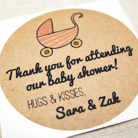 Baby Carriage Baby Shower Favor Labels  / Mason Jar Labels - Once Upon Supplies