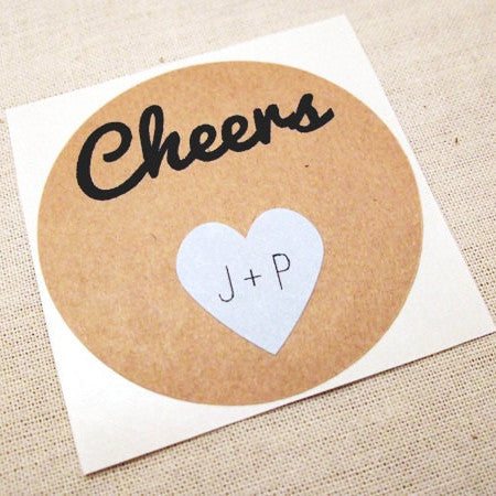 Cheers Round Stickers with Mini Hearts - Once Upon Supplies - 1