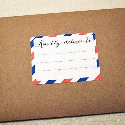 Red White Blue Airmail Stripes Address Labels - Once Upon Supplies
