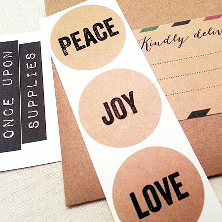 Peace Joy Love Christmas Envelope Seals / Round Stickers - Once Upon Supplies