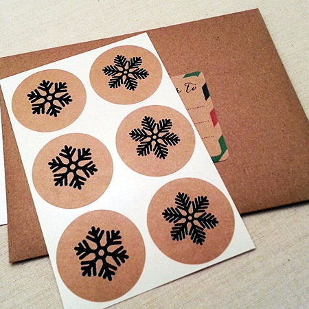 Snowflakes Round Stickers - Once Upon Supplies