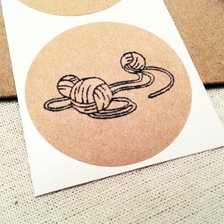 Yarn Ball Round Stickers - Once Upon Supplies