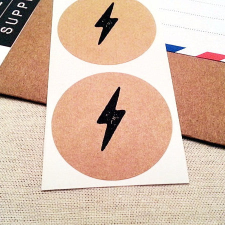 Lightning Bolt Round Stickers - Once Upon Supplies