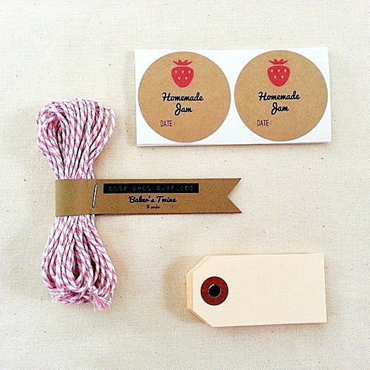 Canning Jar Gifts - Strawberry Jam Labels Gift Wrap Kit with Gift Tags and Baker's Twine