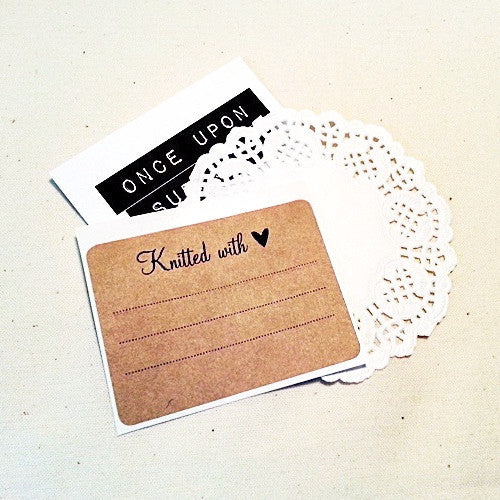 Knitted with Love Product Labels / Gift Labels / Care Instruction Labels / Gift Packaging / Rustic Kraft Labels / Rectangle Stickers - Once Upon Supplies