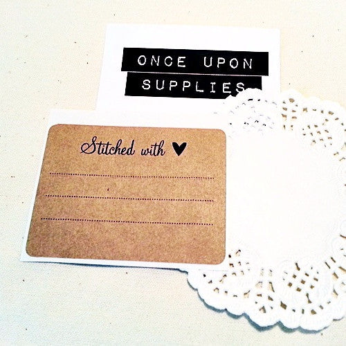 Stitched with Love Rustic Rectangle Kraft Labels - Once Upon Supplies