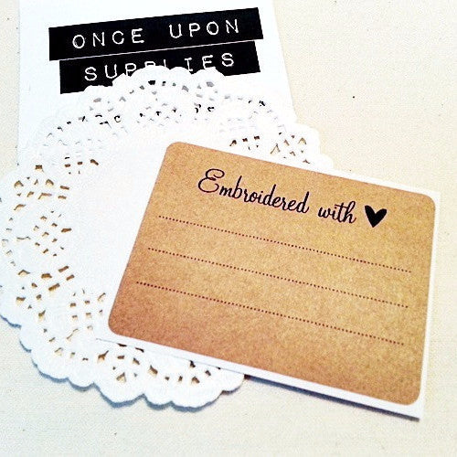 Embroidered with Love Homemade Labels - Once Upon Supplies
