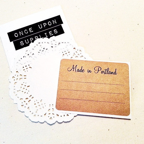 Made in Portland Rustic Rectangle Kraft Labels - Once Upon Supplies
