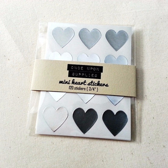 Mini Silver Heart Stickers - Once Upon Supplies