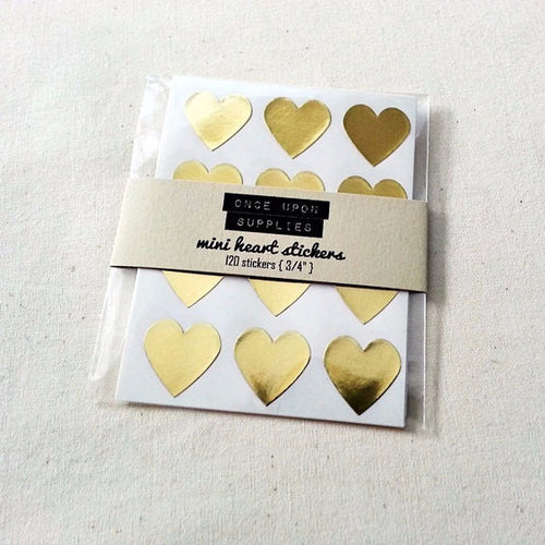 Mini Gold Heart Stickers - Once Upon Supplies
