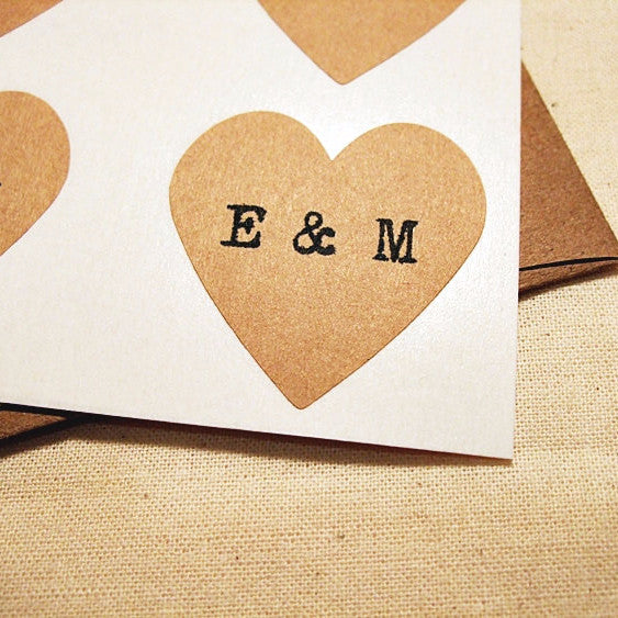 Personalized Vintage Heart Stickers with Typewriter Initials - Once Upon Supplies - 1