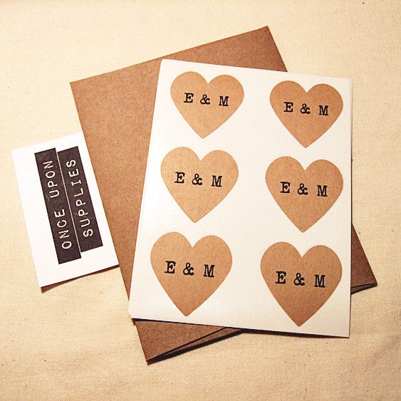 Personalized Vintage Heart Stickers with Typewriter Initials - Once Upon Supplies - 2