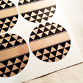 Round Labels / Spice Jar Labels / Tribal Geometric Triangle Pattern