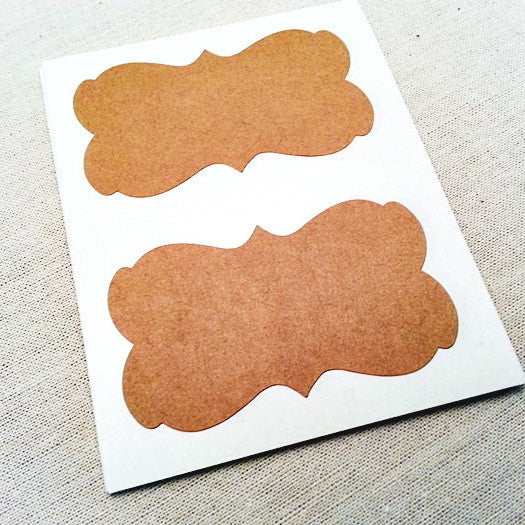 Rustic Kraft Brown Blank Decorative Border Labels - Once Upon Supplies - 1