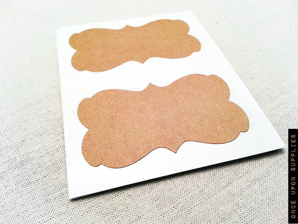 Rustic Kraft Brown Blank Decorative Border Labels - Once Upon Supplies - 2