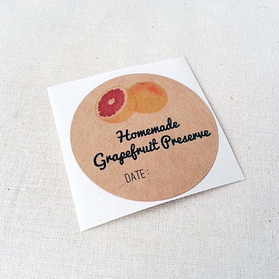 Grapefruit Preserve Jelly Jam Marmalade Jar Labels - Once Upon Supplies