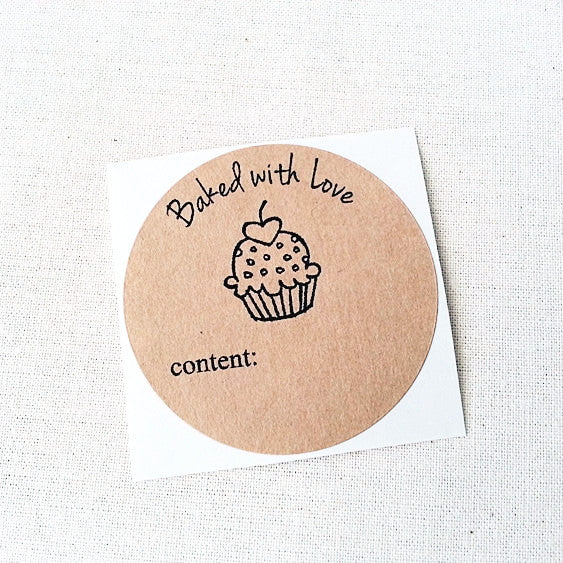 Cupcake Baked With Love Round Labels