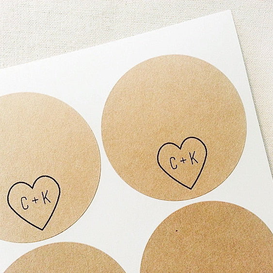 Heart Initials Wedding Place Cards Labels - Once Upon Supplies