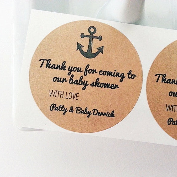 Nautical Anchor Mason Jar Labels / Baby Shower Favor Labels / Kraft Round Labels / Food Labels / Stickers / Paper Goods - Once Upon Supplies - 1
