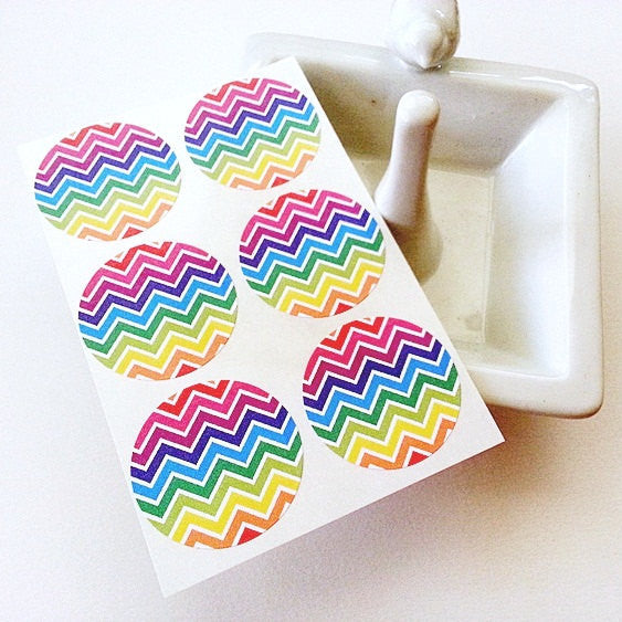Rainbow Chevron Stripes Round Labels - Once Upon Supplies - 1