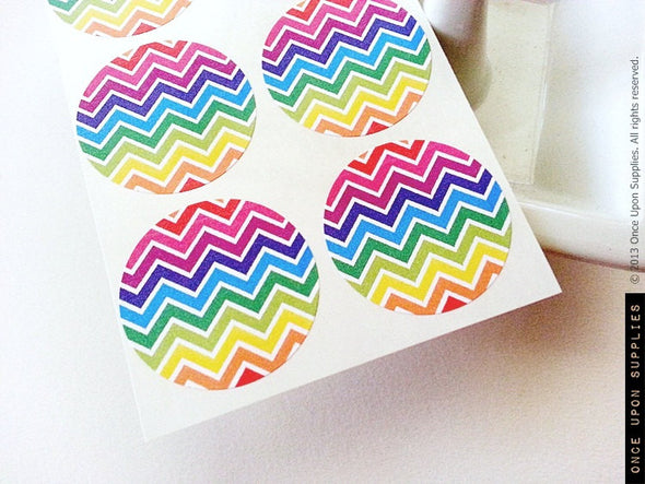 Rainbow Chevron Stripes Round Labels - Once Upon Supplies - 2