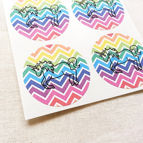 Rainbow Unicorn Stickers for Kids Birthday Party
