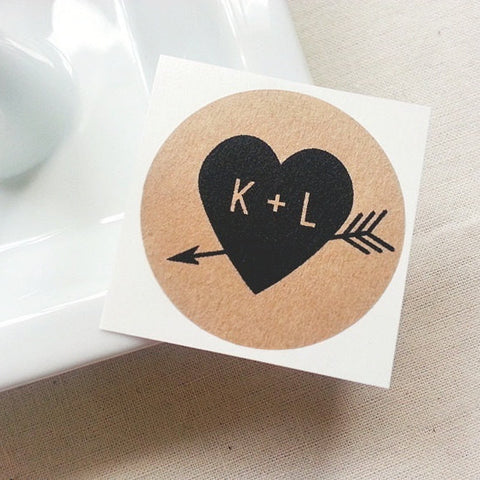 Labels for Mason Jar Favors - Black Heart & Arrow Stickers | Once Upon Supplies