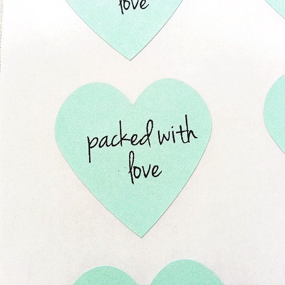 Mint Packed with Love Heart Stickers - Once Upon Supplies