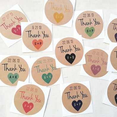 Wedding Thank You Labels. Mason Jar Favors Seals - Once Upon Supplies