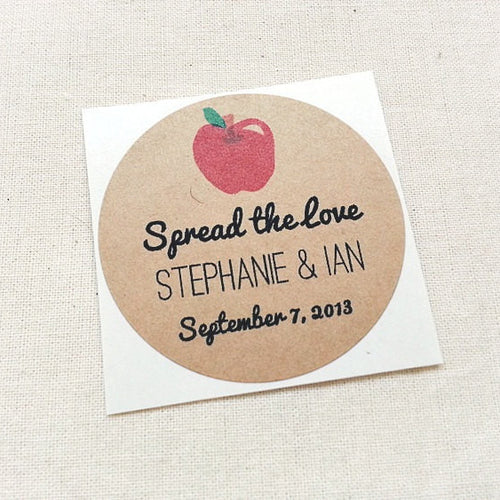 Apple Wedding Favor Mason Jar Stickers - Once Upon Supplies
