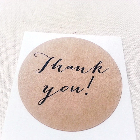 Thank You Round Stickers in Calligraphy Typography - Once Upon Supplies