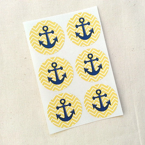 Yellow Chevron Anchor Stickers Round Labels - Once Upon Supplies