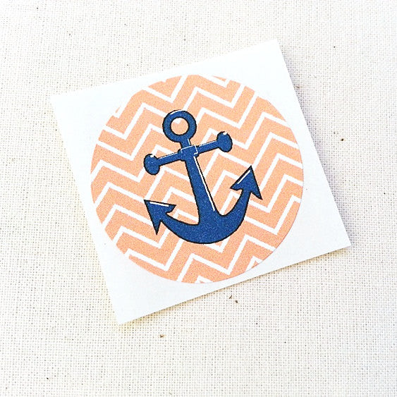 Orange Tangerine Nautical Anchor Stickers - Once Upon Supplies