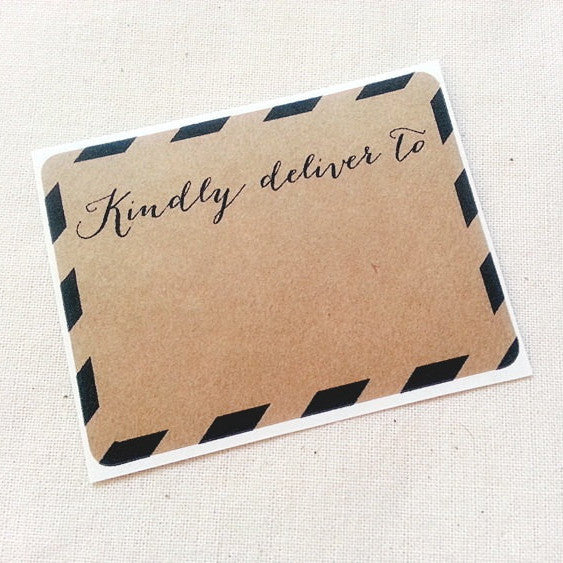 Black and Brown Kraft Stripes Kindly Deliver To Shipping Address Labels - Once Upon Supplies