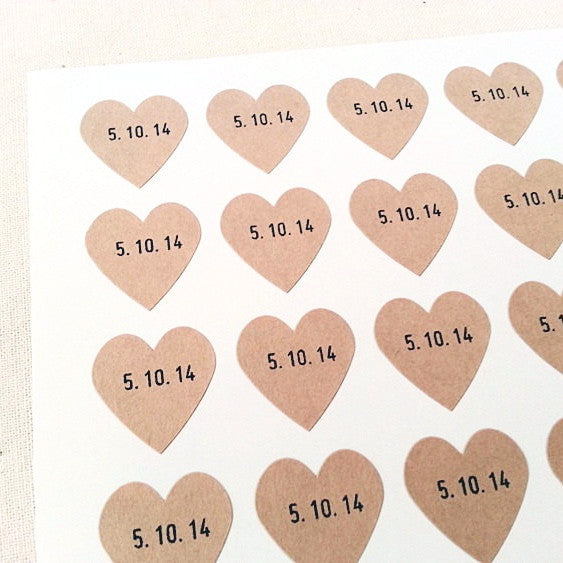 Heart Stickers - Custom Date