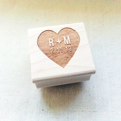 Heart Shape Custom Wedding Stamp - Once Upon Supplies