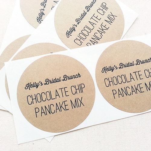 Chocolate Pancake Mix Jar Labels. Bridal Shower Favor Labels. Mason Jar Labels - Once Upon Supplies