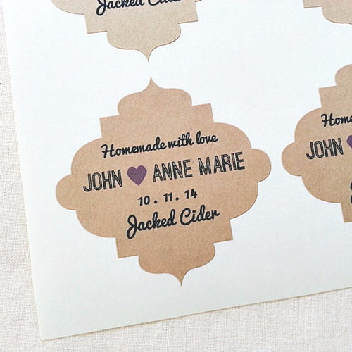 Custom Wedding Labels with Ornate Decorative Border - Once Upon Supplies