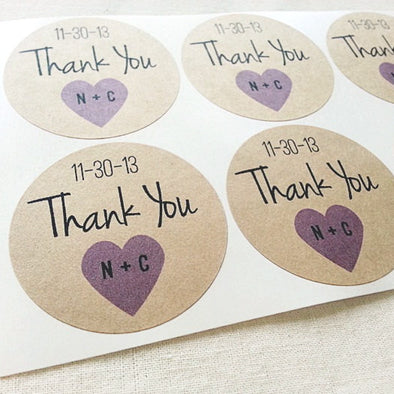 Personalized Thank You Sticker for Weddings - Once Upon Supplies