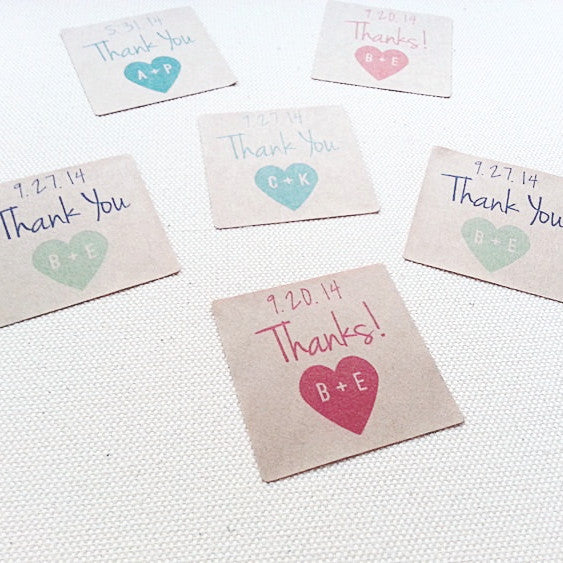 Custom Initials Wedding Square Favor Labels. Thank You Wedding Seals. - Once Upon Supplies