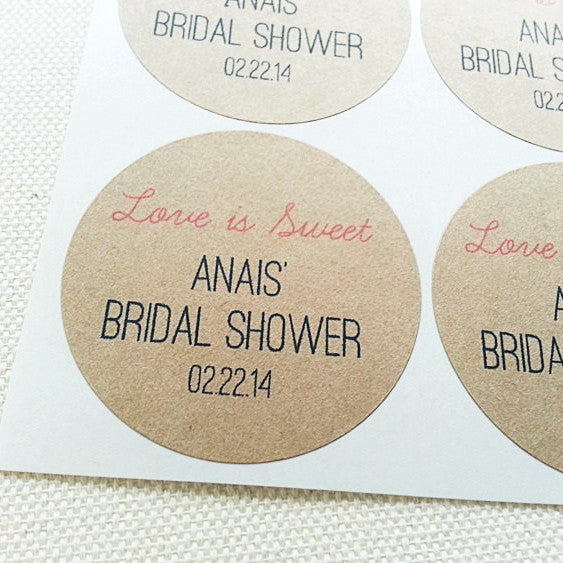 Love Is Sweet Bridal Shower Favor Seals. Handmade Custom Jar Labels - Once Upon Supplies