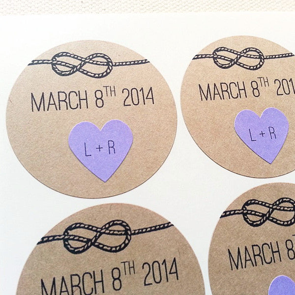 Tie the Knot Wedding Favor Labels with Purple Hearts - Once Upon Supplies