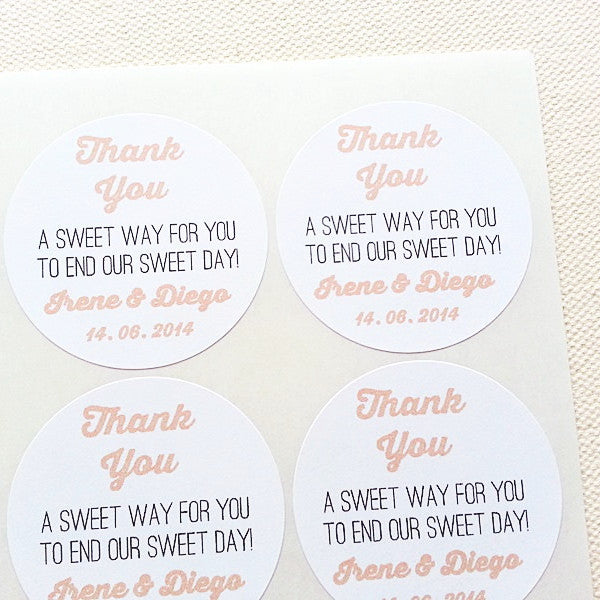 Wedding Candy Buffet Favors Labels - Sweet Way to End Sweet Day