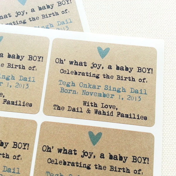 Custom New Baby Announcement Rectangle Labels / Birth Announcement Favors - Once Upon Supplies
