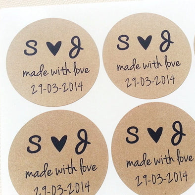 Custom Initials with Heart Made with Love Wedding Seals - Once Upon Supplies