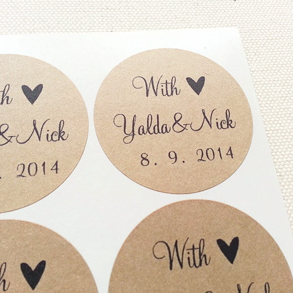 With Love Personalized Names Date Wedding Favor Labels - Once Upon Supplies