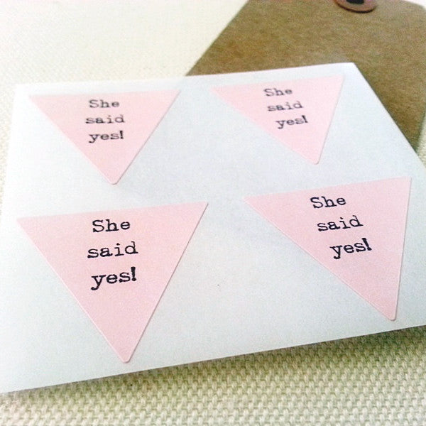 She Said Yes Stickers - Bridal Shower Stickers