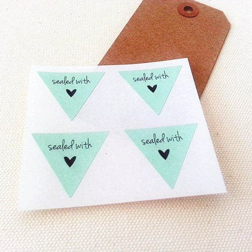 Mint Green Sealed With Love Triangle Stickers - Once Upon Supplies