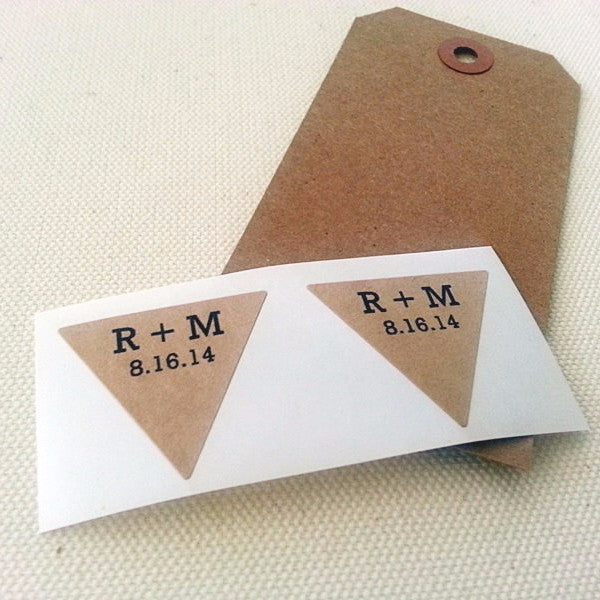 custom wedding save the date stickers triangle labels